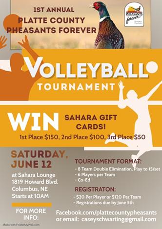 Platte County PF Volleyball Tournament @ Sahara Lounge | Columbus | Nebraska | United States