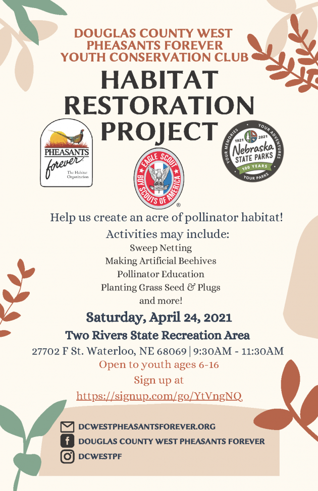 DCW PF Youth Conservation Club Habitat Restoration Project @ Two Rivers State Recreation Area | Waterloo | Nebraska | United States