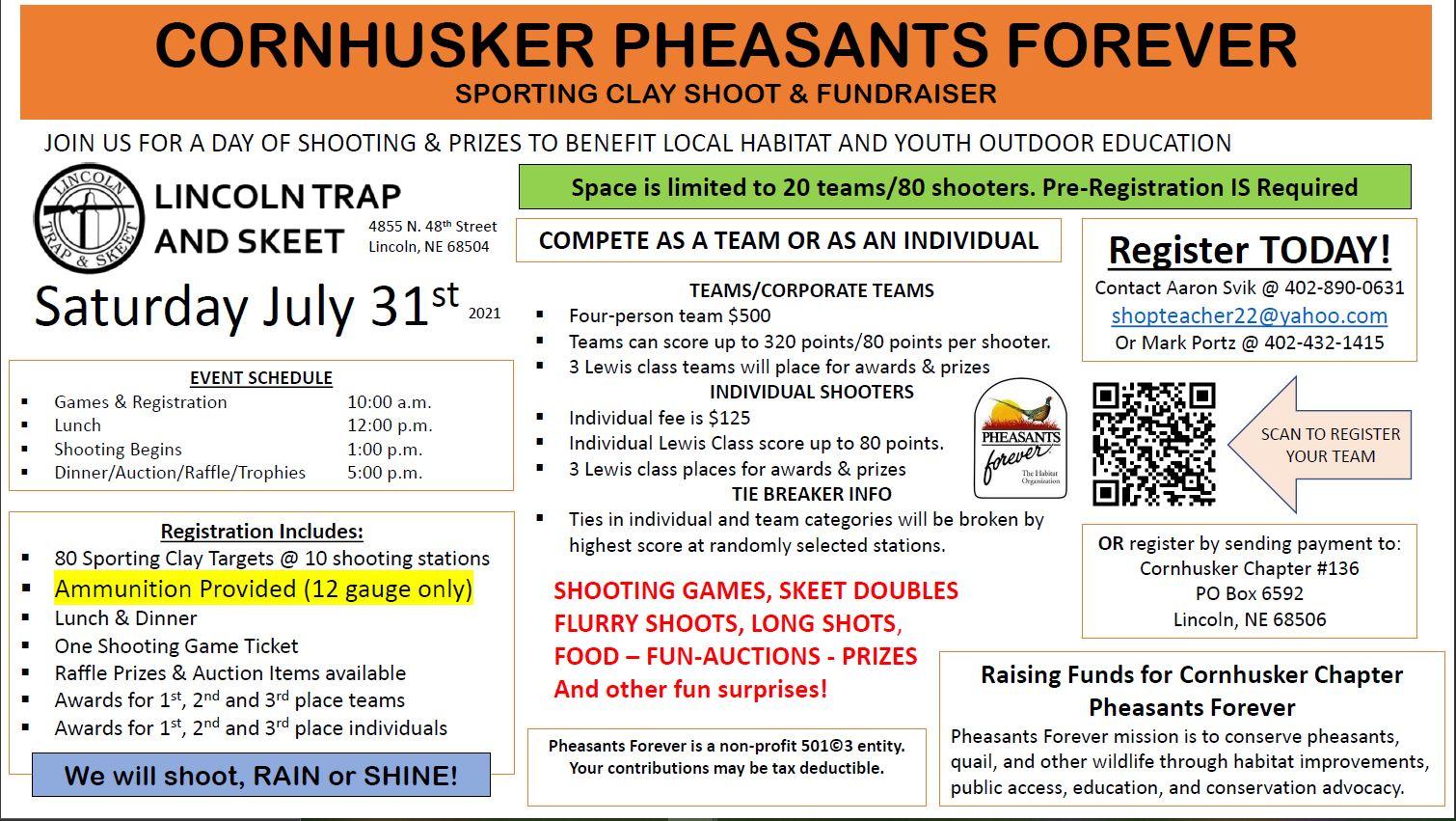 Cornhusker PF Sporting Clays Shoot & Fundraiser @ Lincoln Trap and Skeet | Lincoln | Nebraska | United States